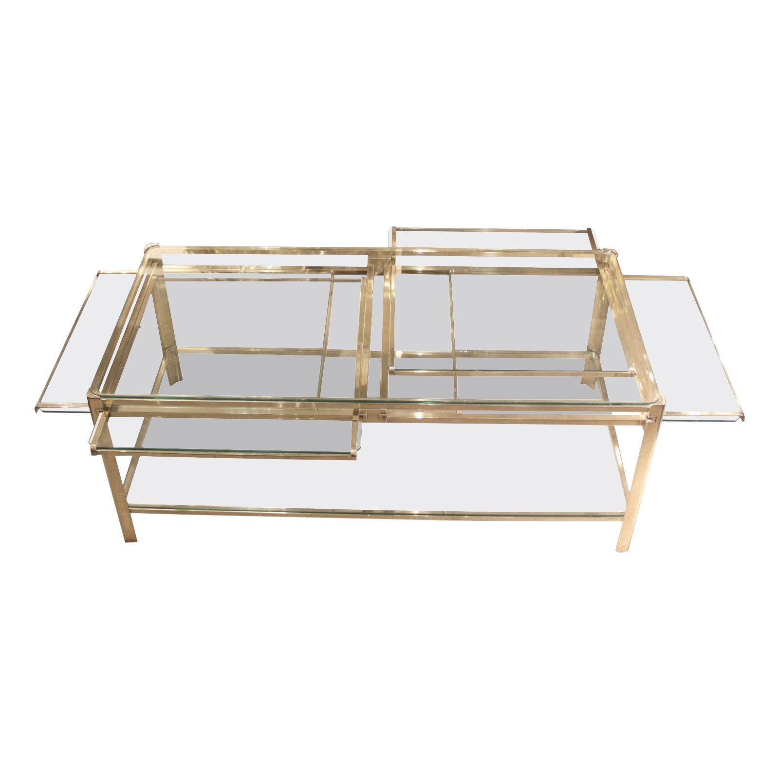 Coffee Table with Four Pulls in Bronze and Glass, Jacques Quinet, France, 1960