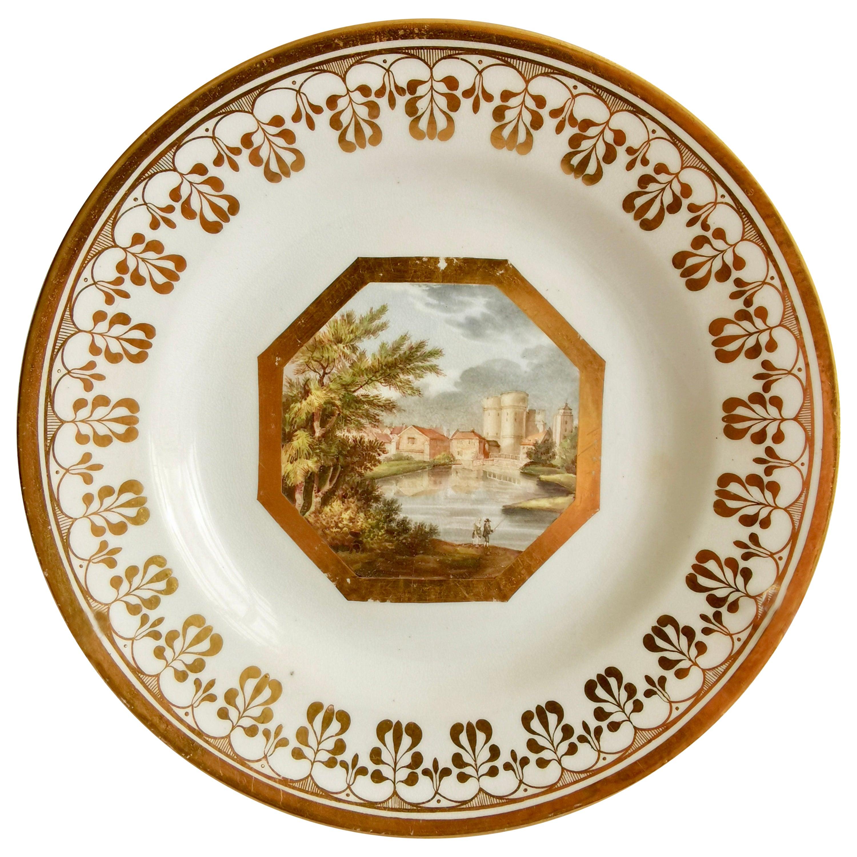John Rose Coalport Plate, Canterbury landscape Thomas Baxter, Georgian ca 1810