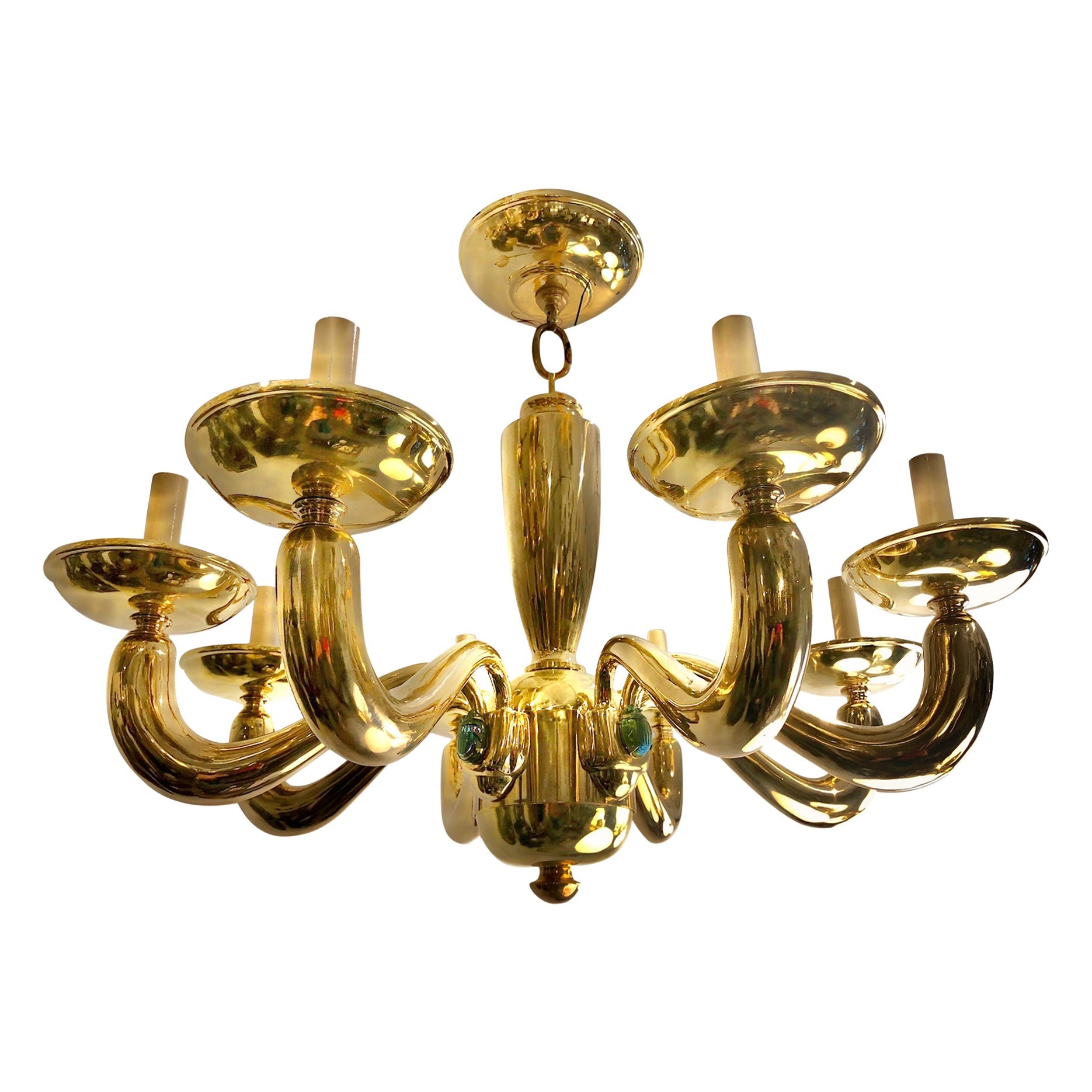 Pair of Midcentury Chandeliers with Glass Scarabs, Sold Individually