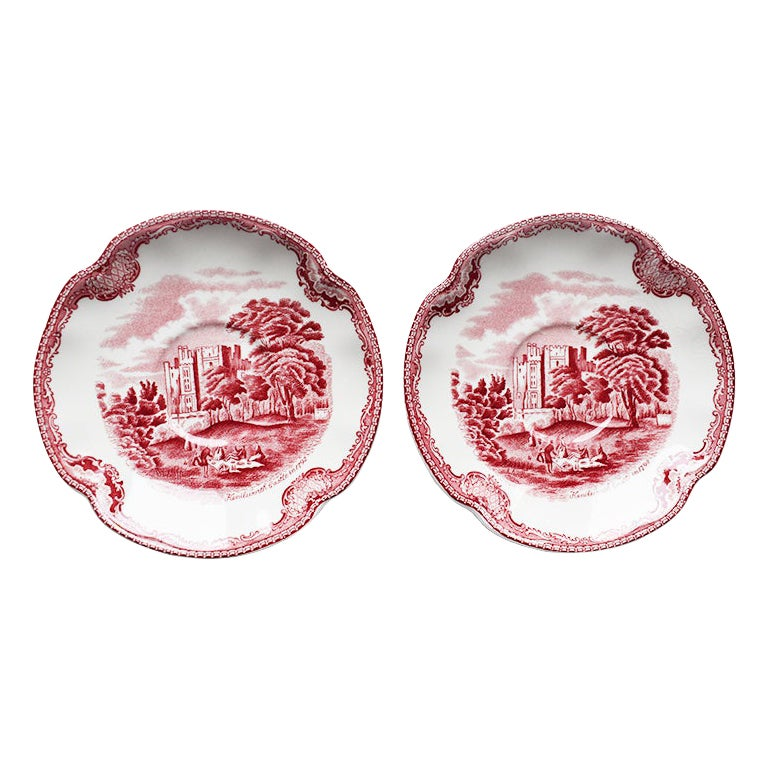 Johnson Bros England Red Ceramic Saucers Old Britain Castles, a Pair