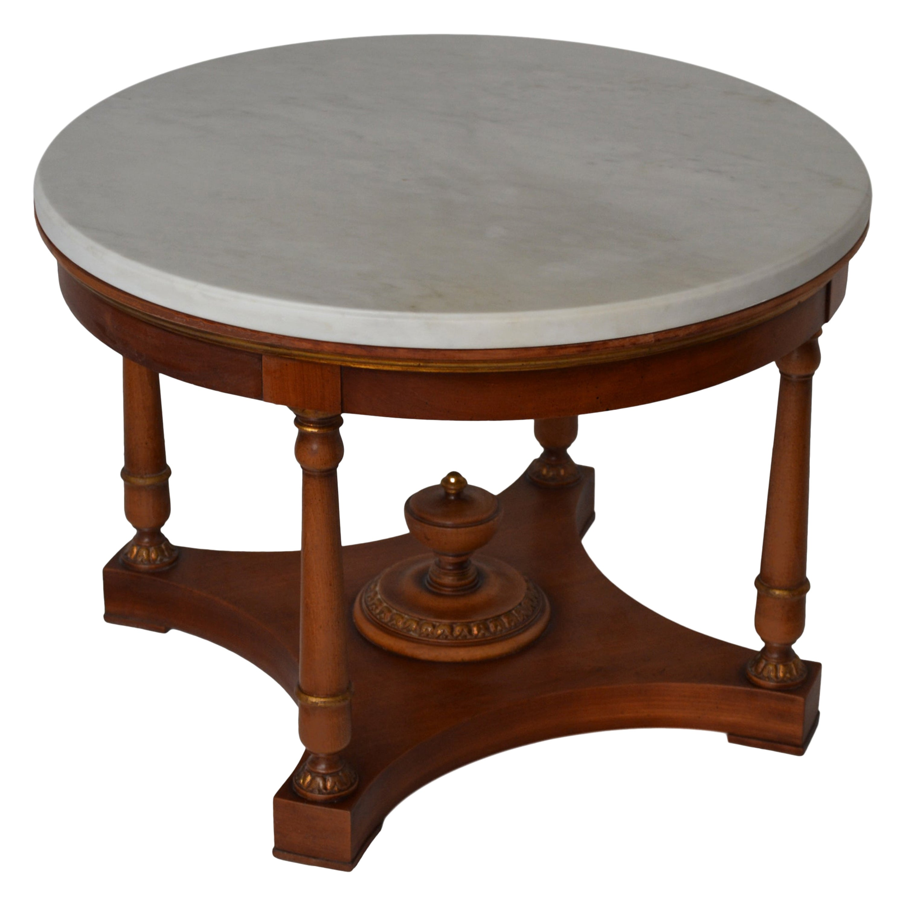 Round Coffee table white marble top Cherrywood Base Cupioli handmade in Italy
