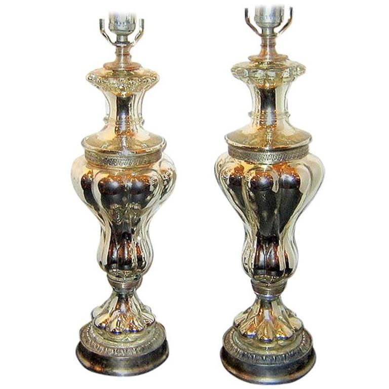 Pair of Mercury Glass Table Lamps