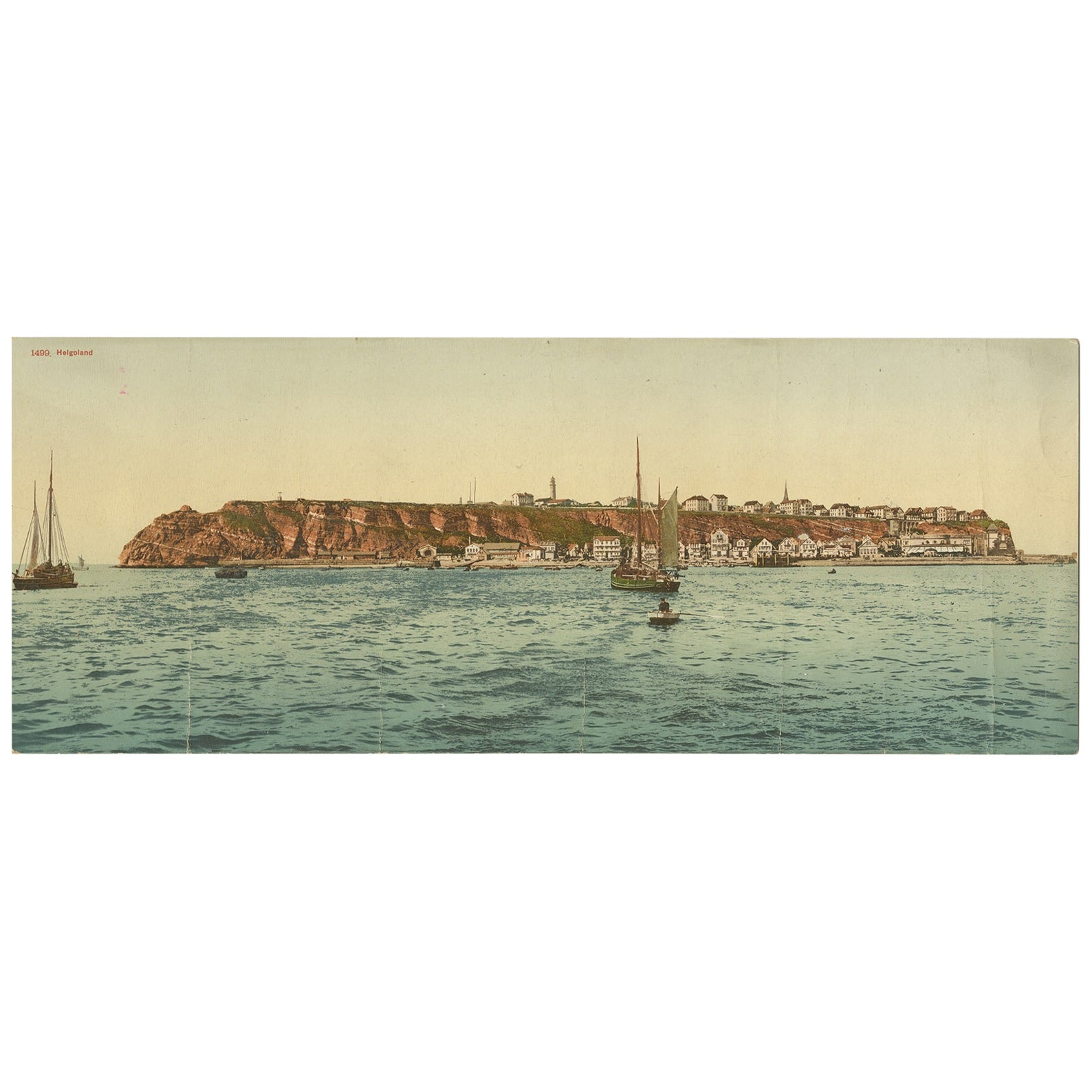 Set of Two Large Panoramic Vintage Postcards of Heligoland, 'circa 1920'