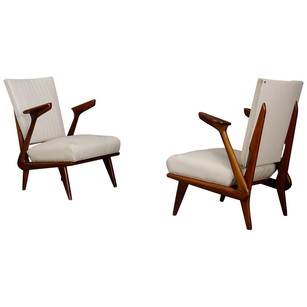 Pair of Midcentury Armchairs by Giuseppe Scapinelli in Solid Wood, 1950s