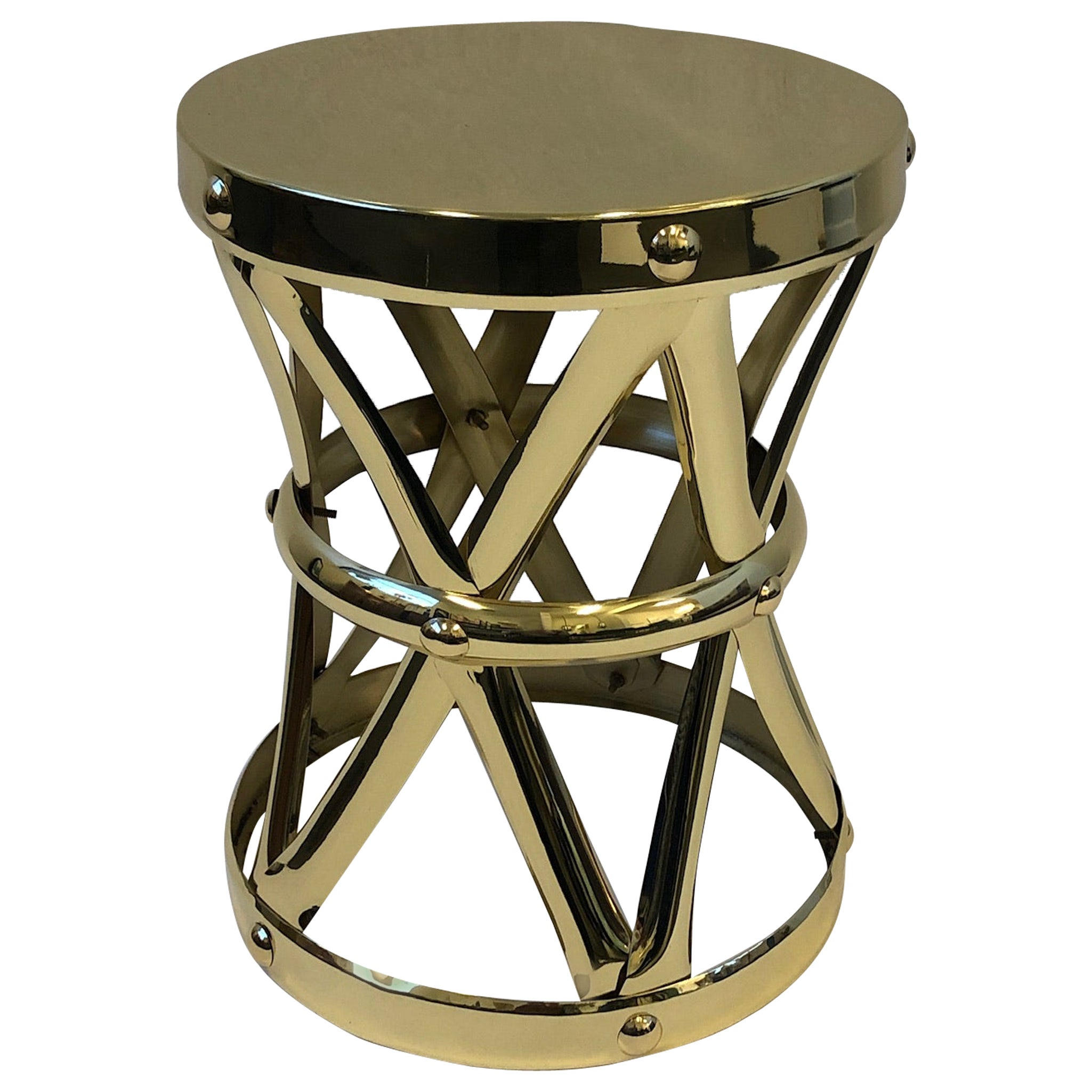 Spanish Brass Drum Occasional Side Table by Sarreid Ltd.