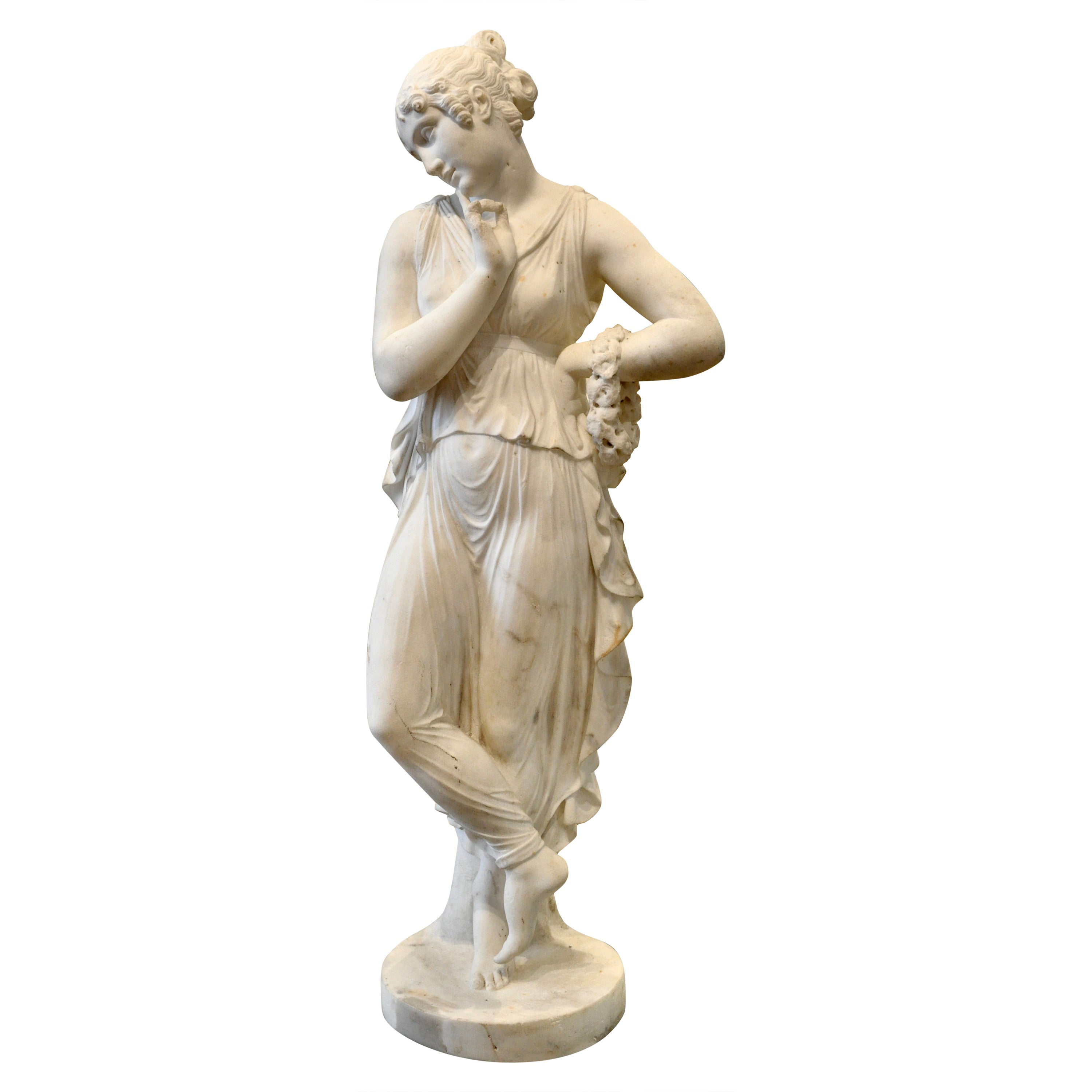 19th Century Neoclassical Carved Marble Statue of Canova's Dancing Woman