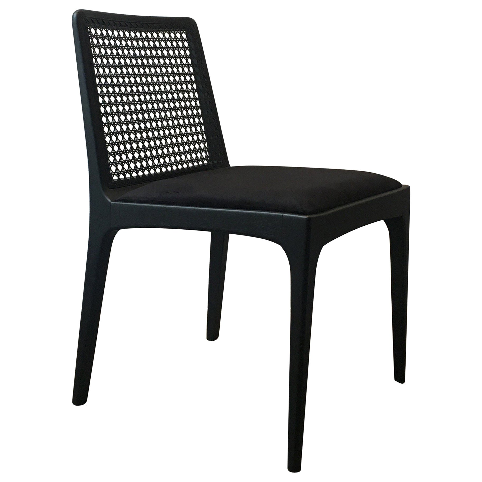 """""""Julia"""" Chair in Ebony Finish Solid Wood and Customized Handwoven"""