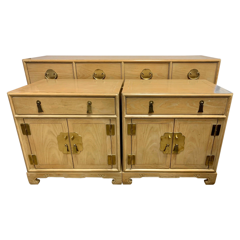 Ray Sabota for Century Furniture Three Piece Bedroom Set Dresser Two Nightstands