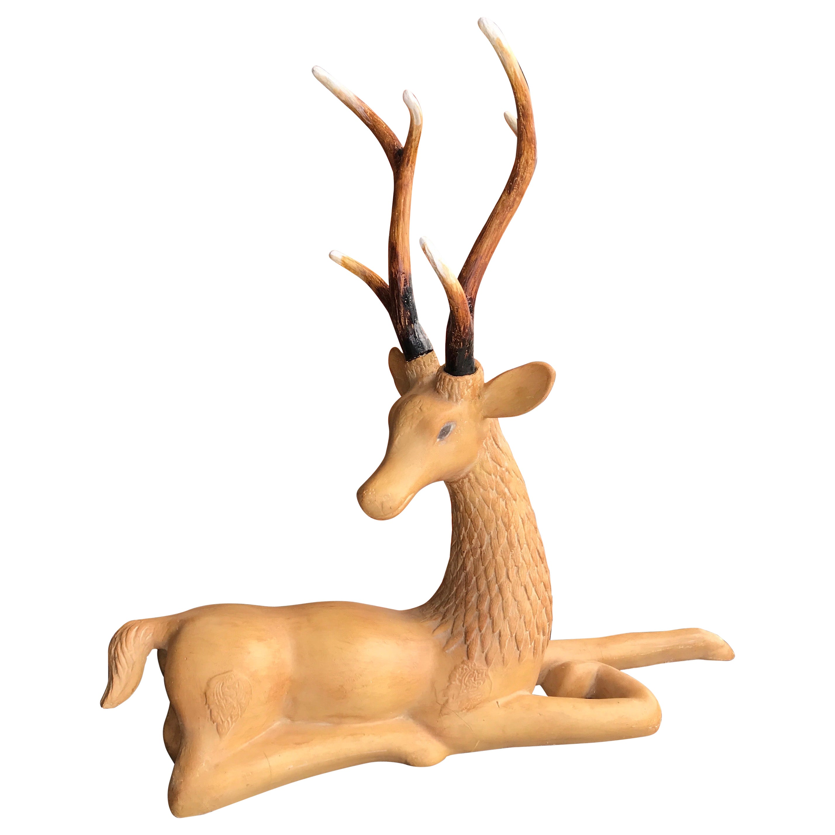 Reclining Deer with Antlers