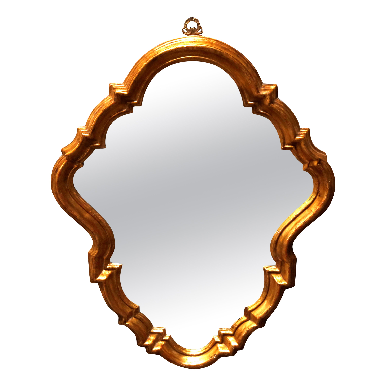 Antique French Rococo Stylized Shield Form Giltwood Wall Mirror, circa 1920
