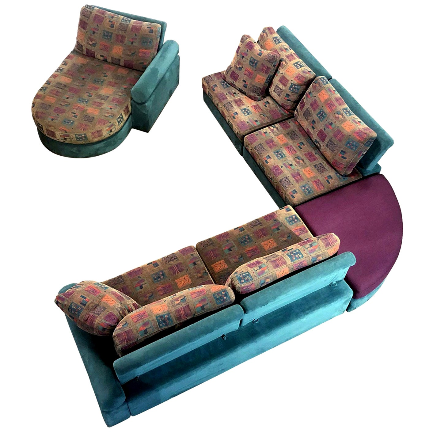 Dellarobbia Teal Microsuede Sectional Sofa Lounge Chairs and Chaise