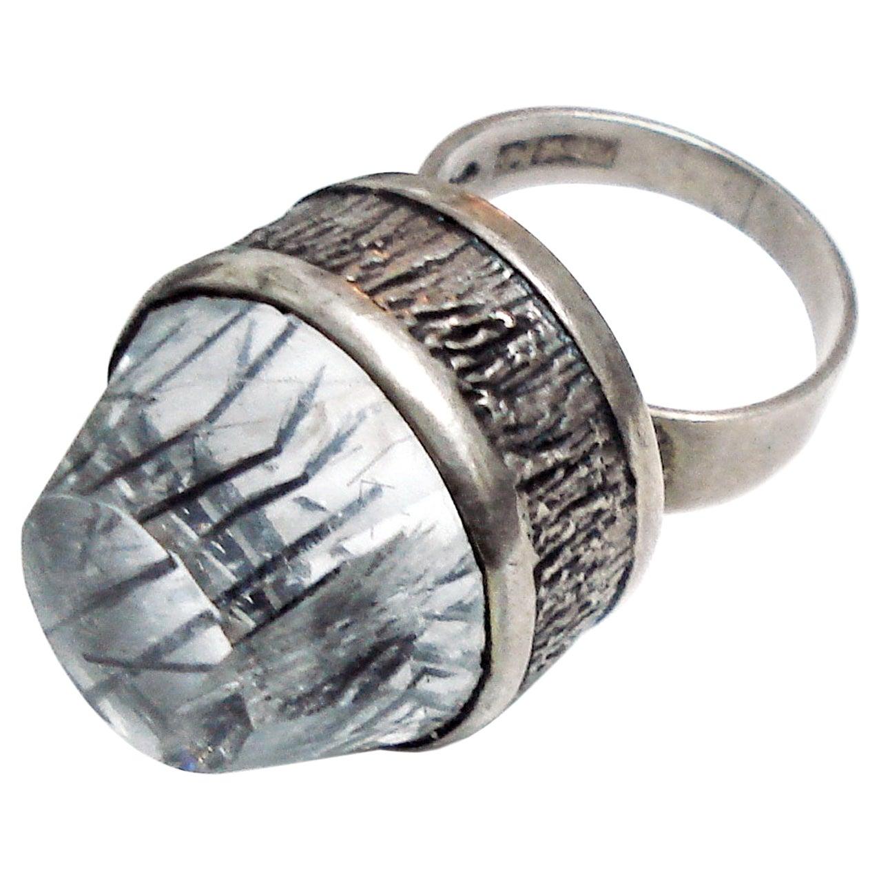 Mid-Century Modern Silver and Rock Crystal Ring, Bengt Hallberg, Sweden, 1969