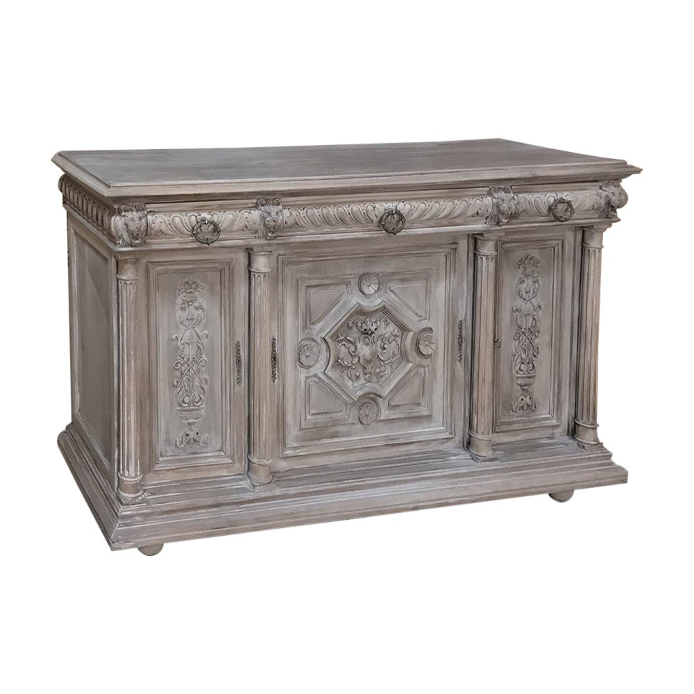 19th Century French Henri II Ceruse Walnut Buffet