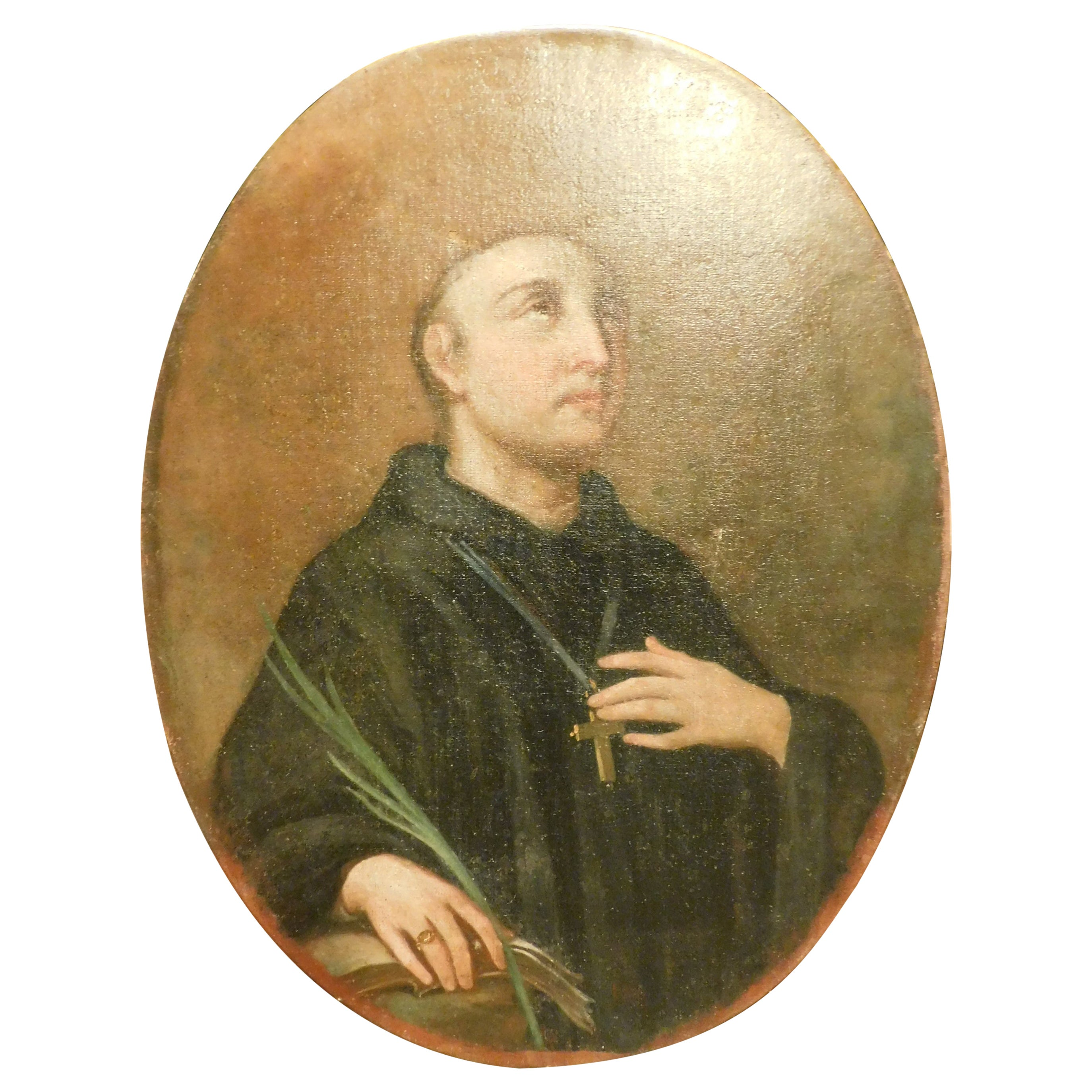 Antique Oil on Canvas Painting, Holy Portait, 1800, Italy