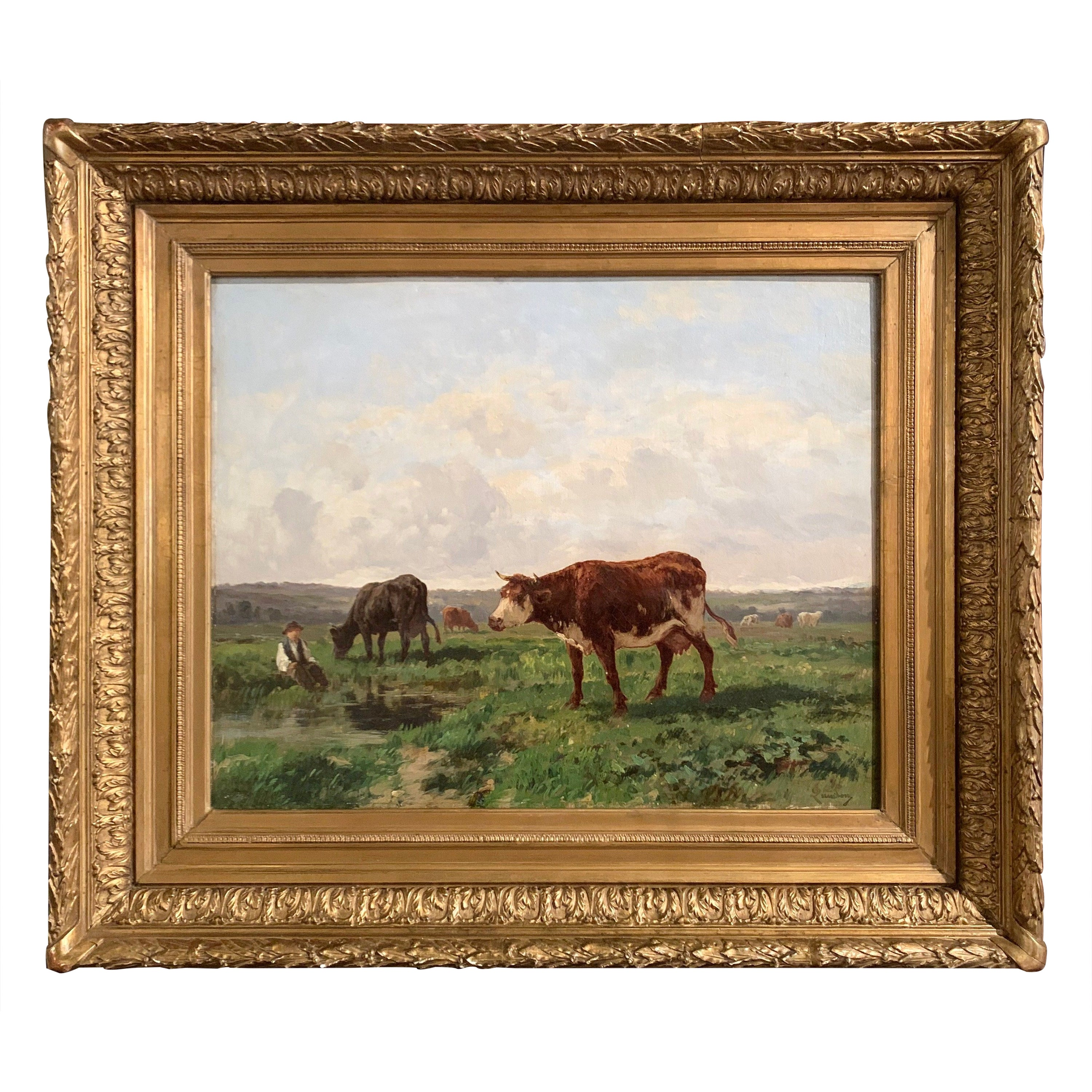 19th Century French Sheep Oil Painting in Carved Gilt Frame Signed C. Quinton