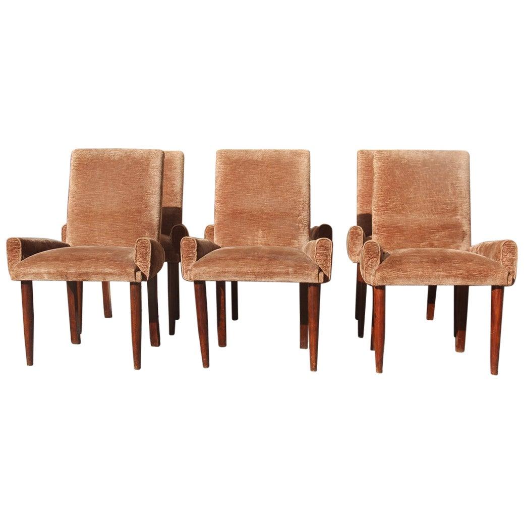Paolo Buffa Brown Velvet Chairs Midcentury Italian Design 1950s Wooden Foot