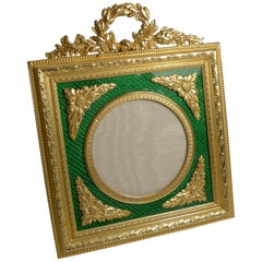 Antique French Gilded Bronze and Green Enamel Photograph / Picture Frame c.1900