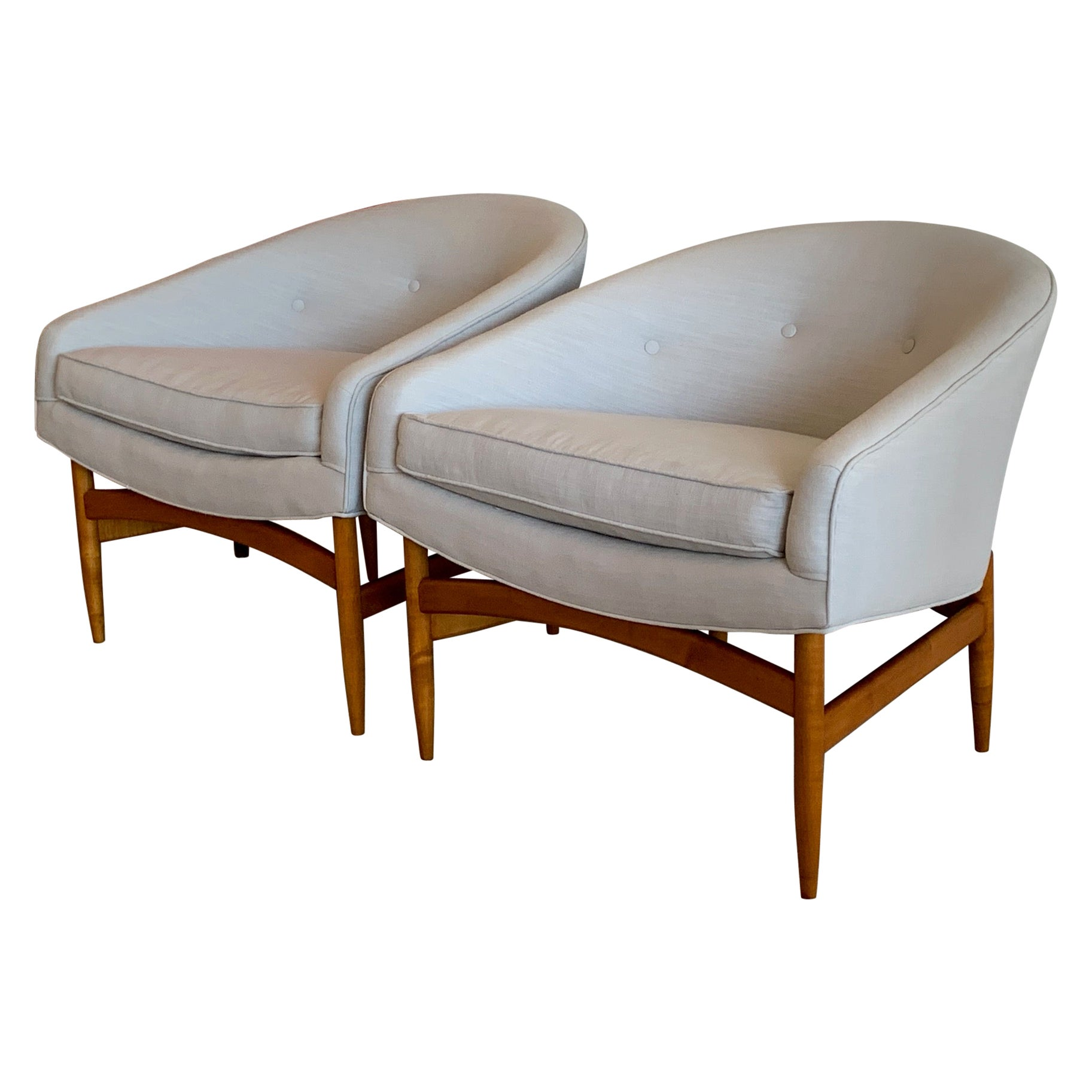 Pair of Lawrence Peabody Barrel Chairs