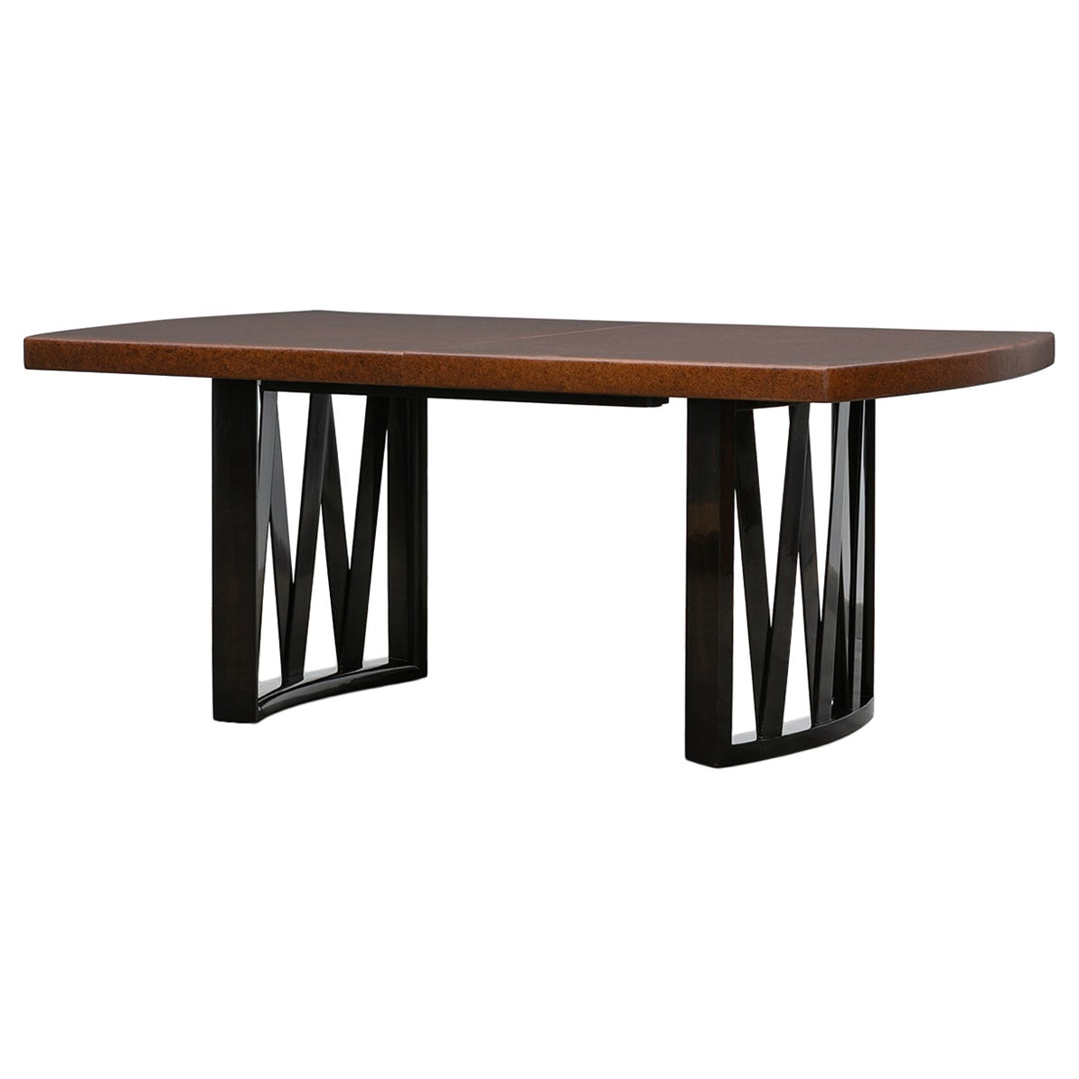 1940s Brown Cork and Mahogany Dining Table by Paul Frankl