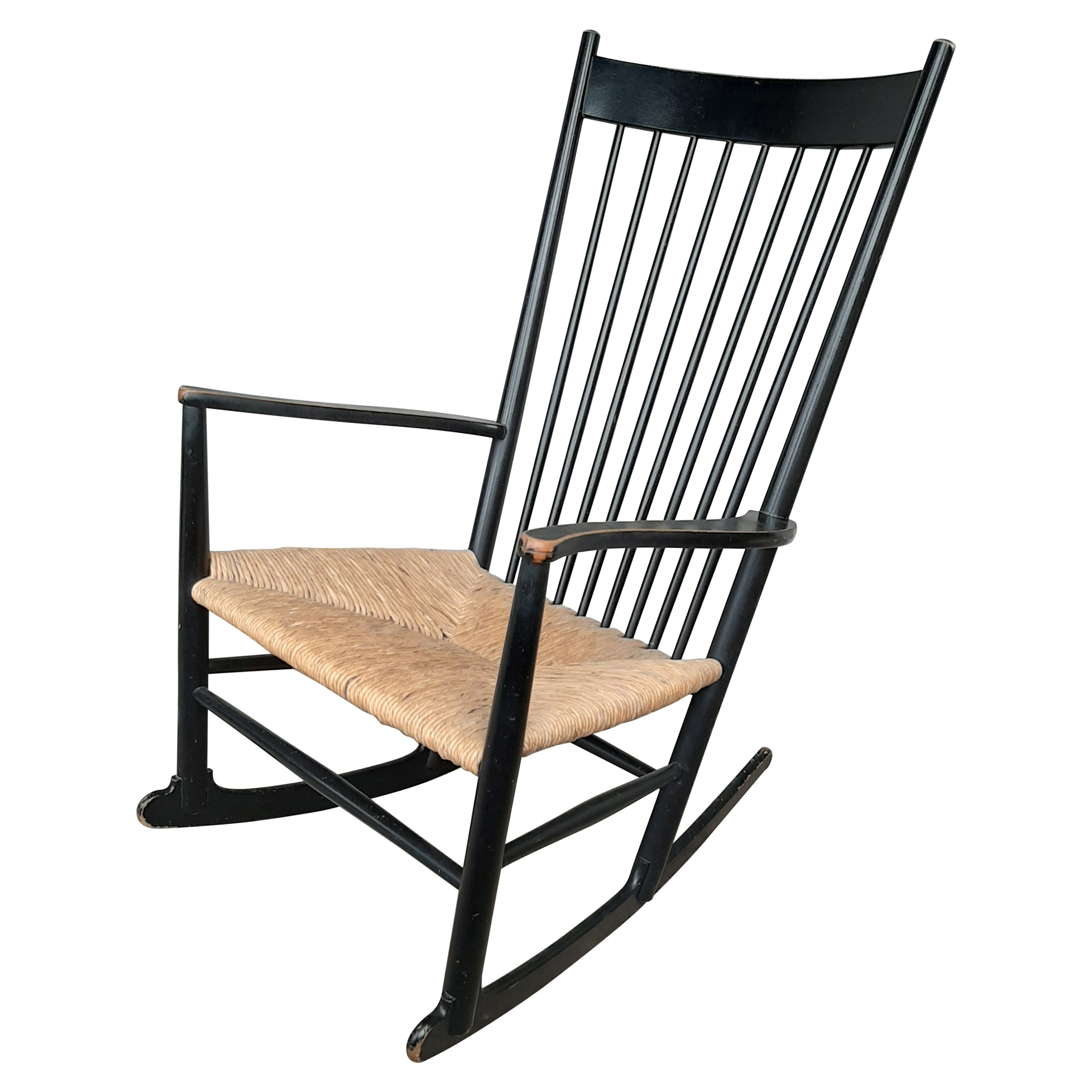 Hans Wegner Rocking Chair Model J16 in Painted Beech with Woven Paper Cord Seat