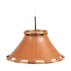 Scandinavian Modern 1970s Leather Pendant Lamp by Anna Ahrens for Ateljé, Sweden