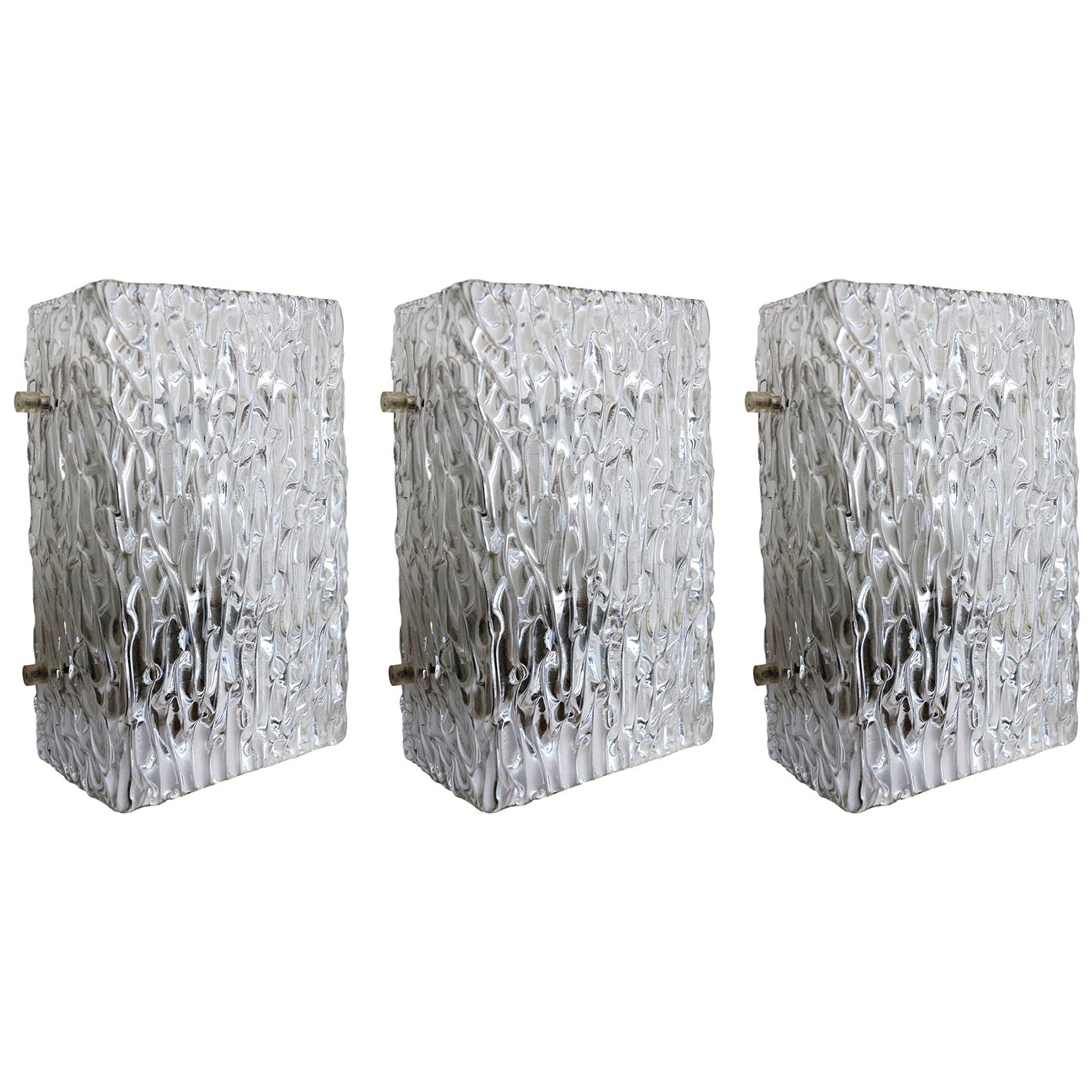 Set of Three Austrian Vintage Textured Ice Glass Wall Lights Sconces, 1960s