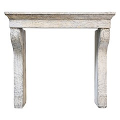 19th Century Antique Fireplace of French Limestone in Style of Campagnarde