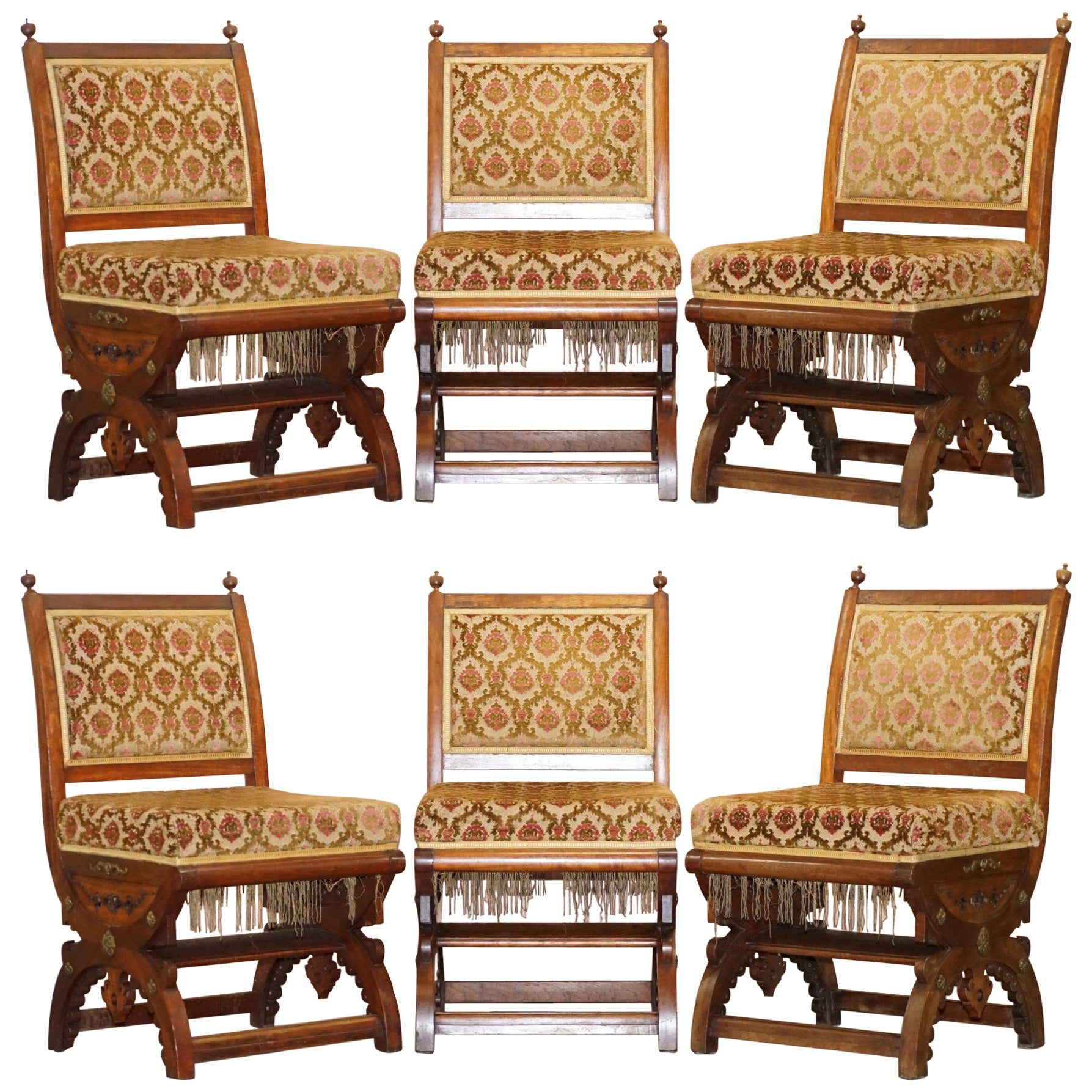 Set of Six Gothic Revival Ornately Carved Walnut Gilt Metal Chairs after Pugin