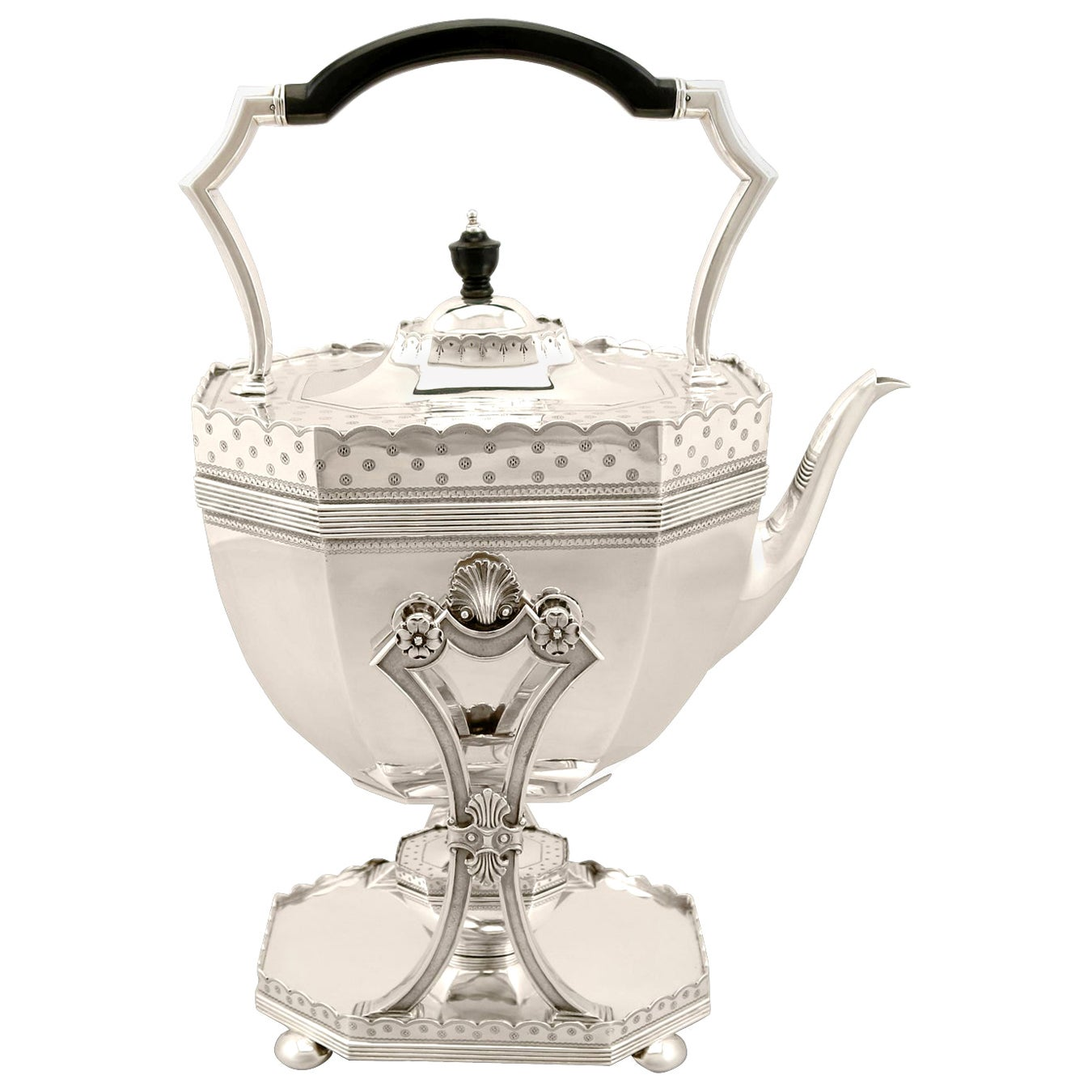Antique Victorian English Sterling Silver Spirit Kettle by Dobson & Sons