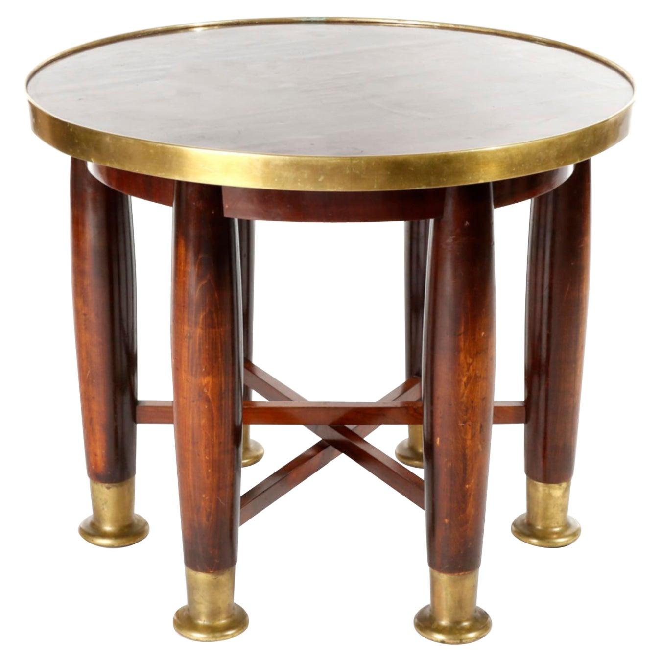 Adolf Loos Six-Legged 'Haberfeld' Table, F.O. Schmidt, Brass Wood, Austria, 1899