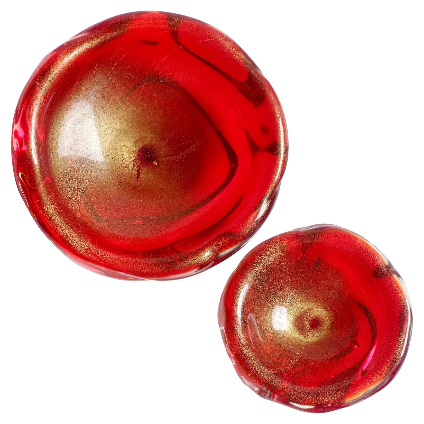 Archimede Seguso Murano Red Gold Flecks Italian Art Glass Decorative Bowl Set