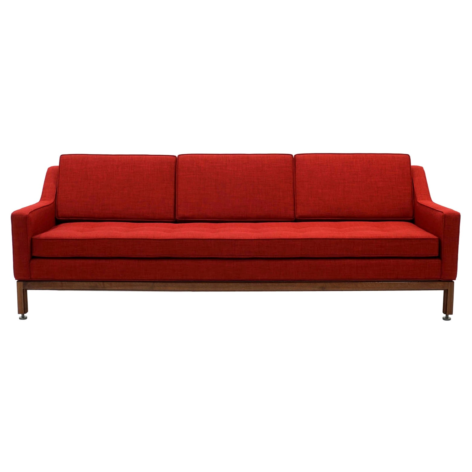 Red Three-Seat Sofa with Walnut Frame by Jens Risom, Expertly Restored