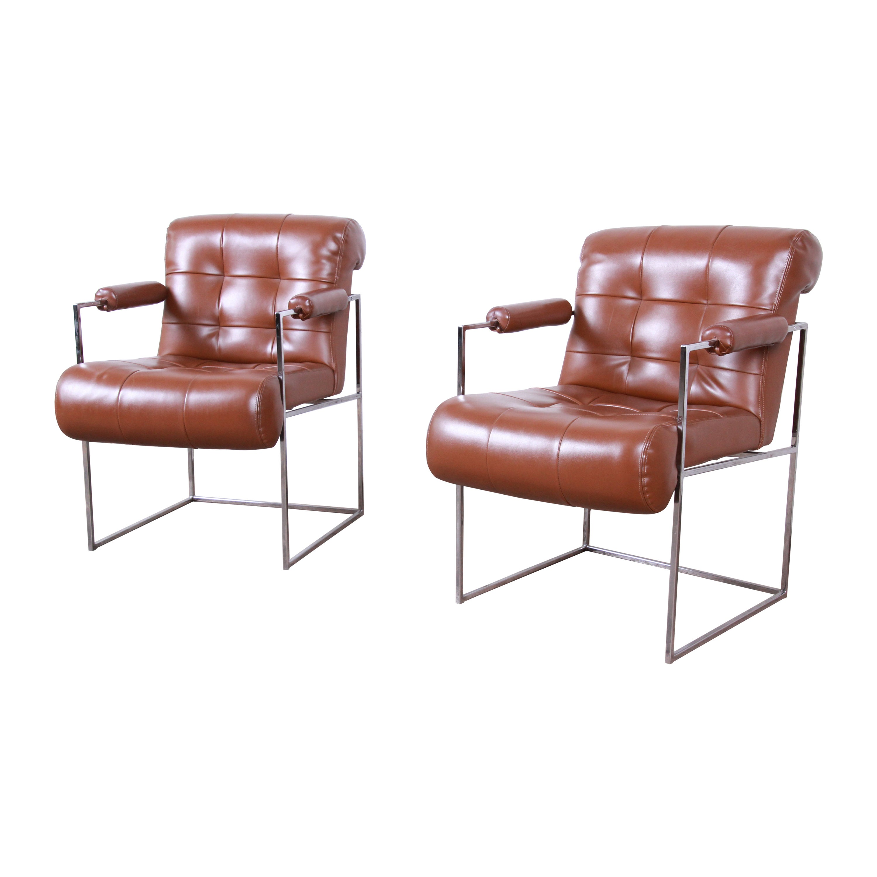 Milo Baughman for Thayer Coggin Leather and Chrome Lounge Chairs, Pair