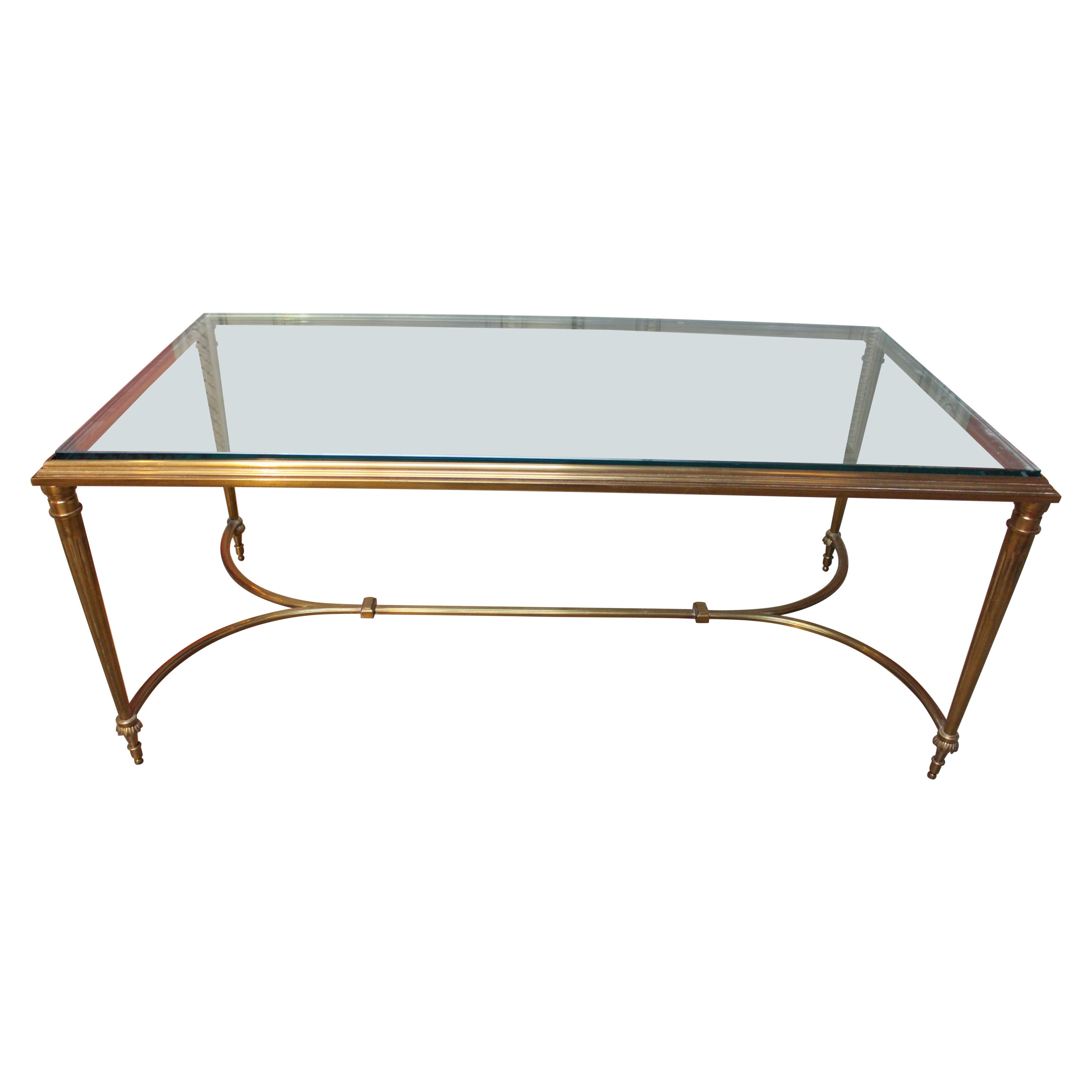 Louis XVI Style Brass Cocktail Table with Glass Top
