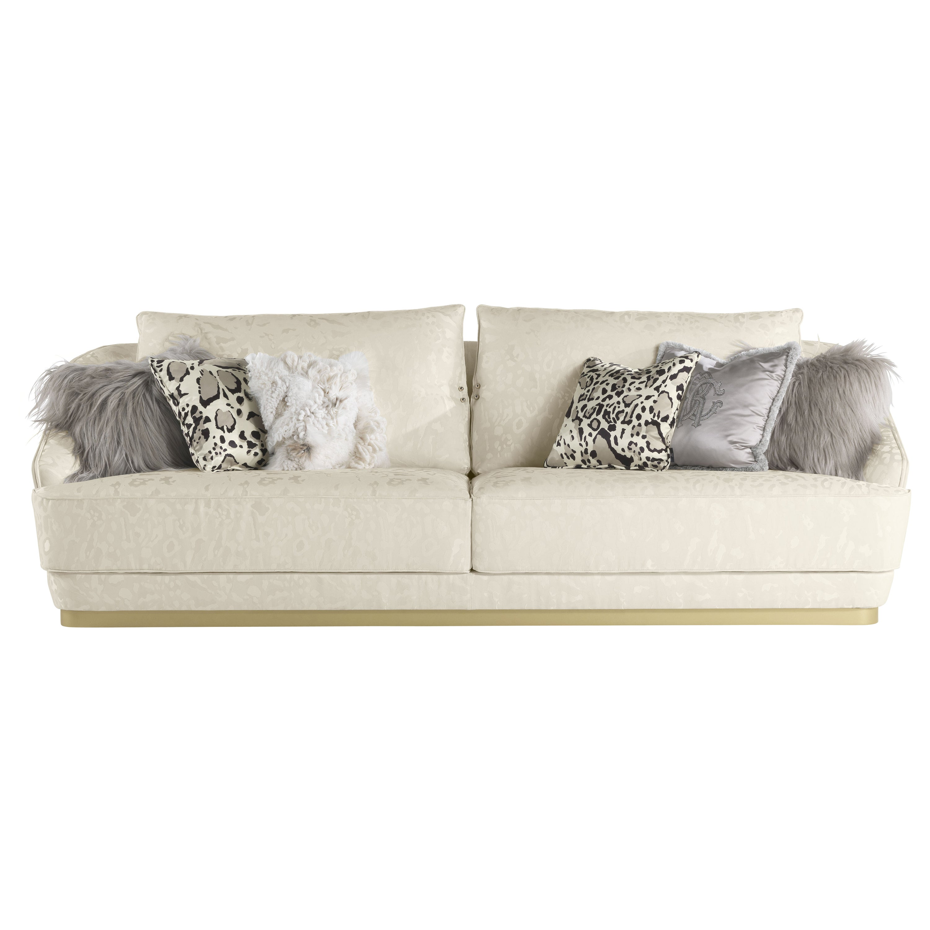 Inanda 3-Seater Sofa in Fabric and Leather by Roberto Cavalli Home Interiors