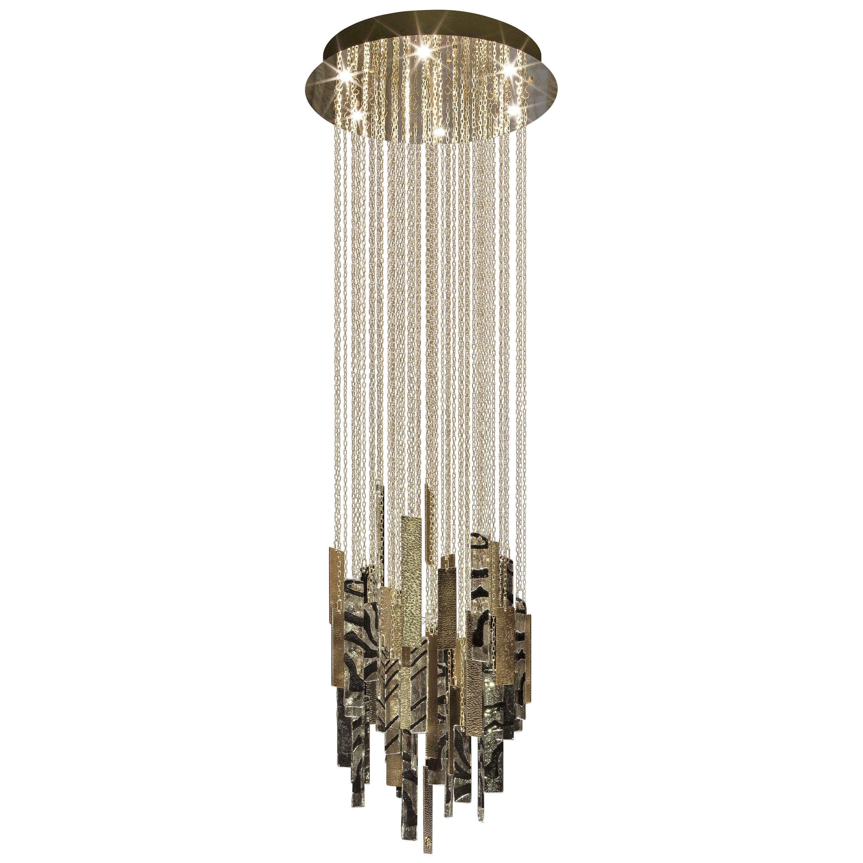 Batten Chandelier in Brass and Blown Glass by Roberto Cavalli Home Interiors