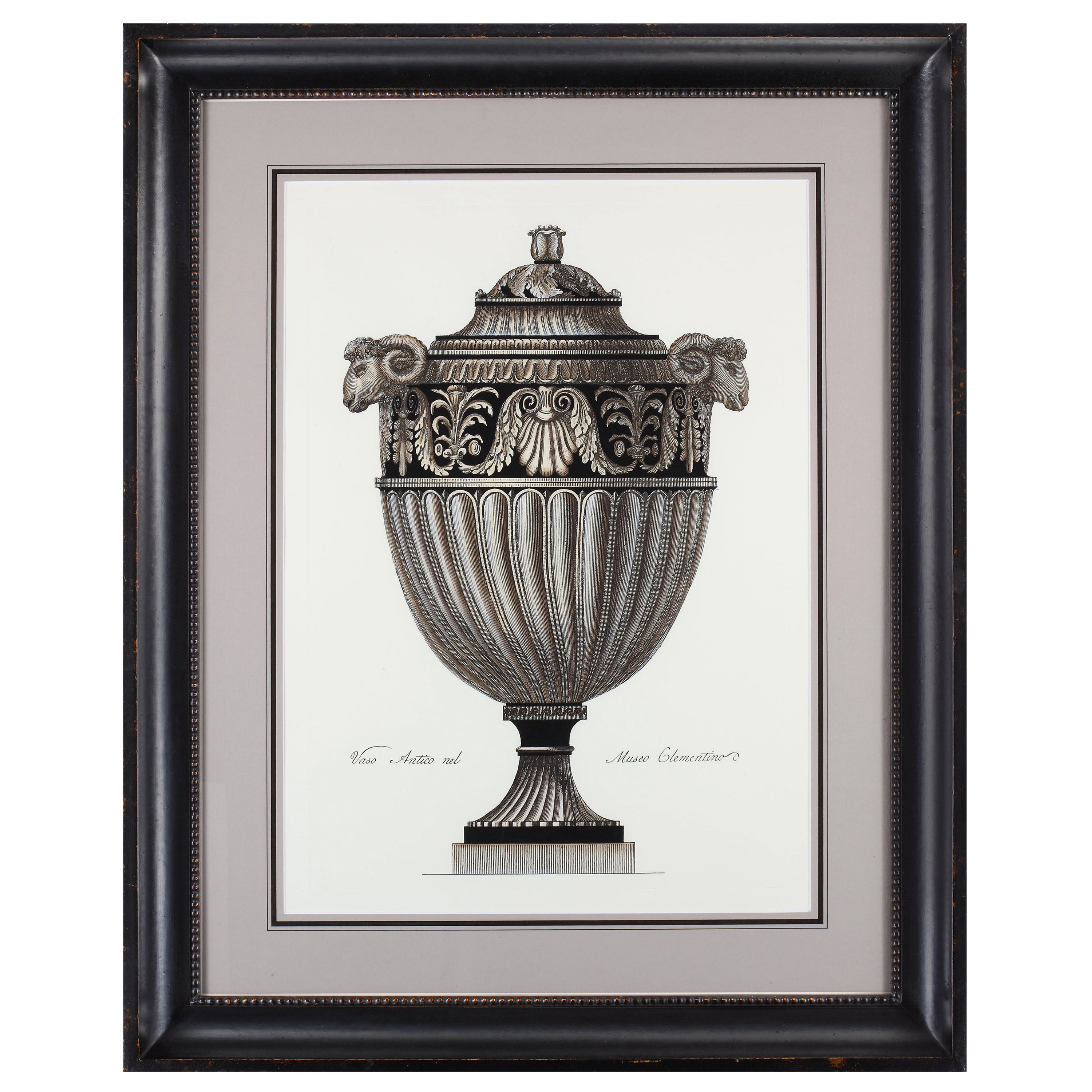 Contemporary Italian hand coloured Roman vase print with handcrafted black frame