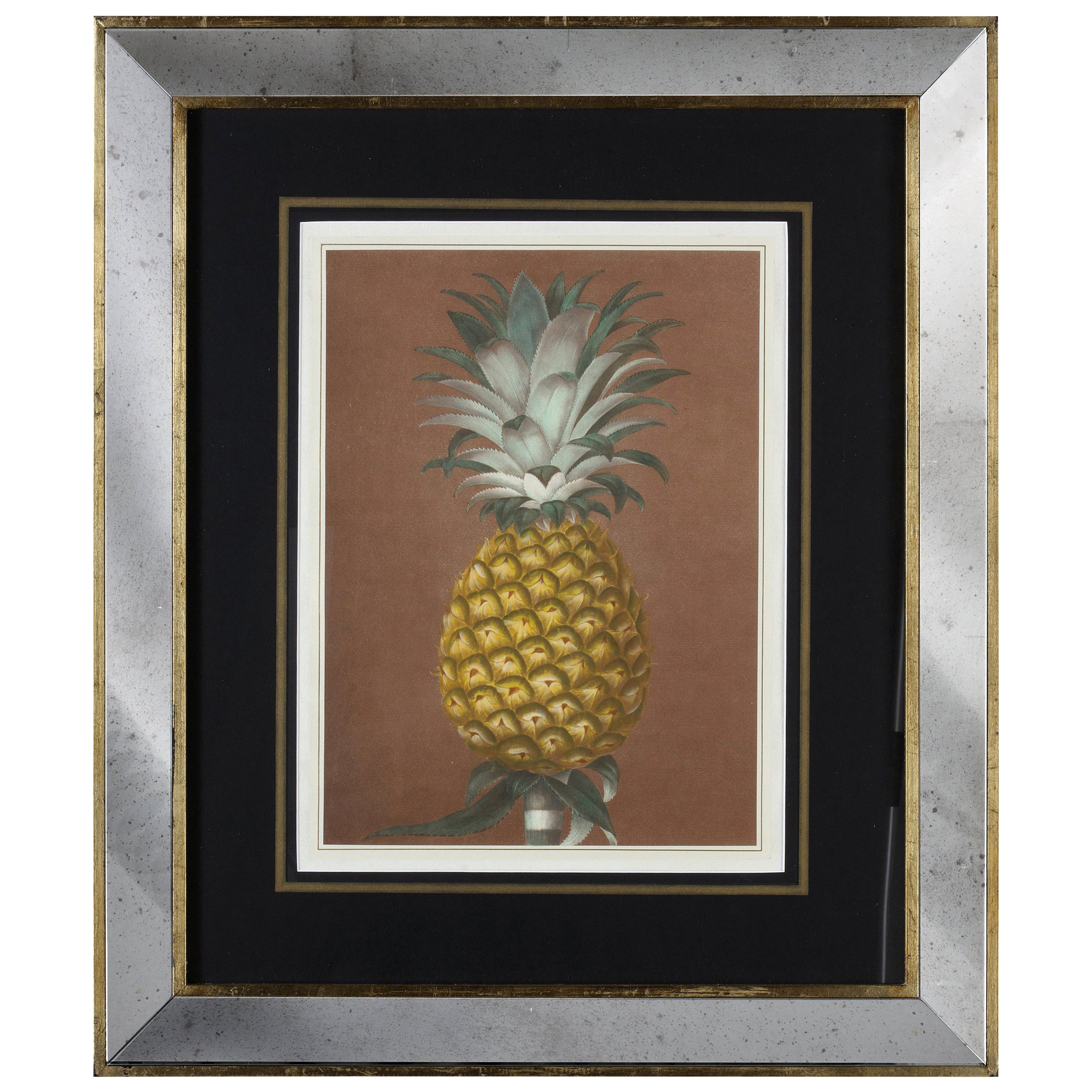 Contemporary Italian Hand Colored Print with Gold Leaf and Mirror Frame Set of 2
