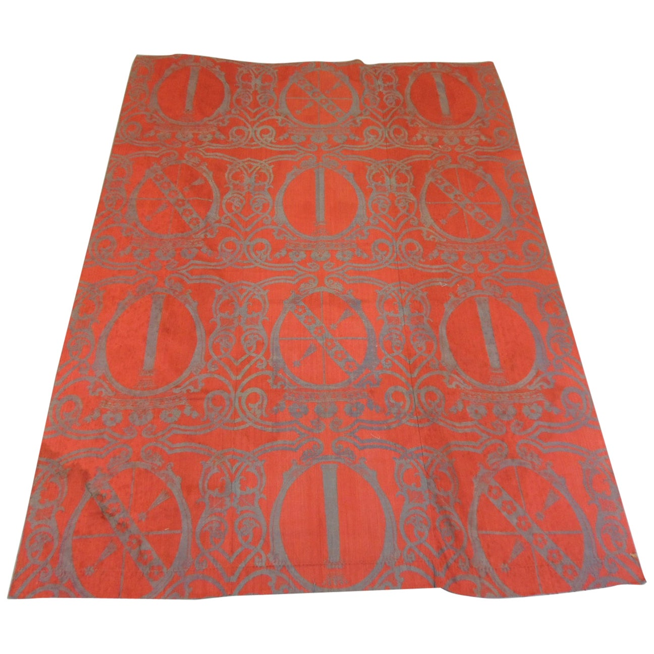Monumental Grey and Red Woven Textile Panel