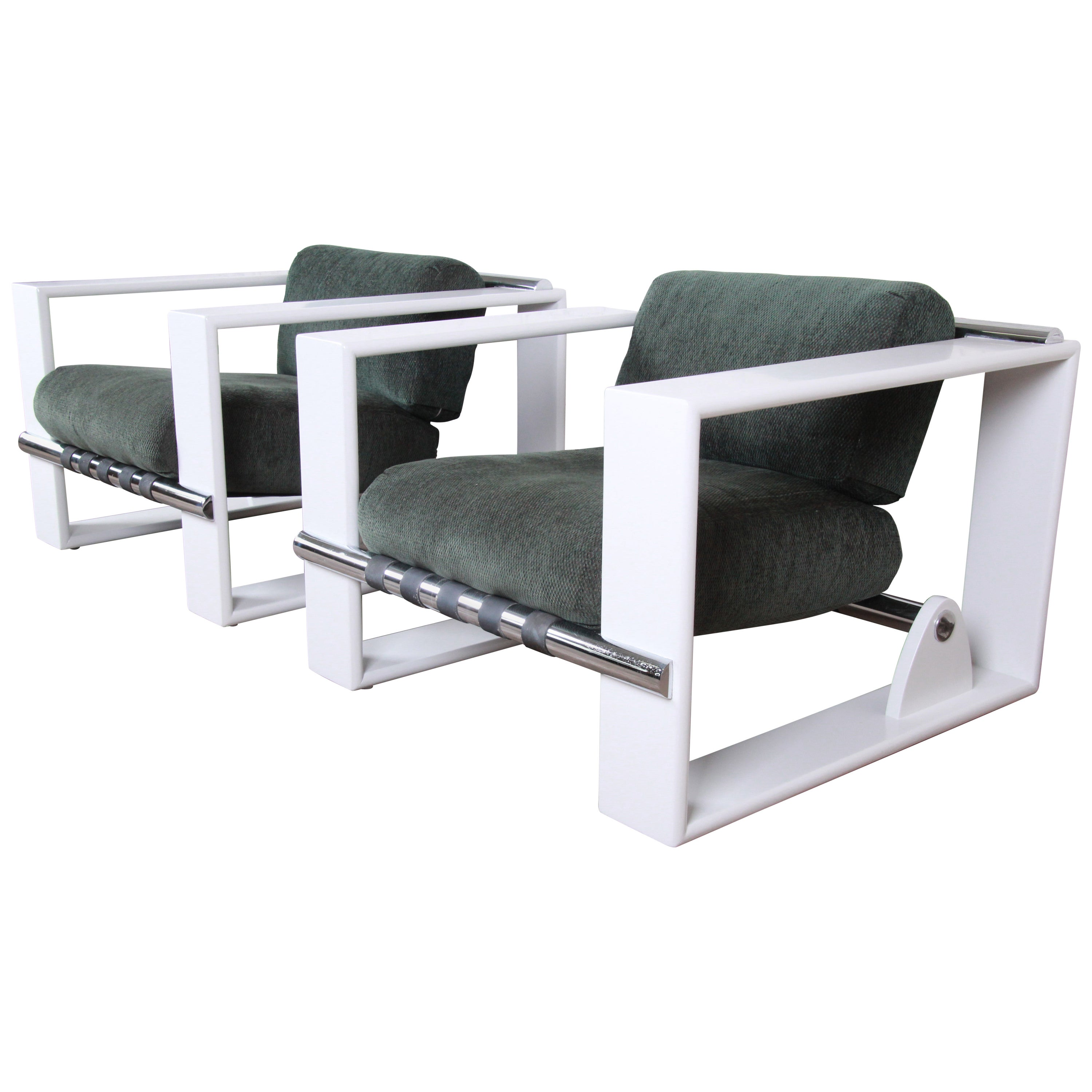 Jonathan Ginat for Directional Mid-Century Modern Cube Lounge Chairs, Pair