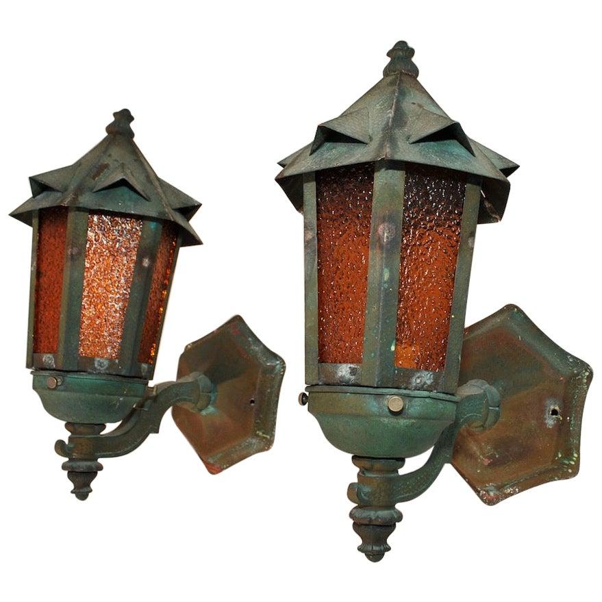 Elegant and Rare Pair of 1920s Copper Outdoor Sconces