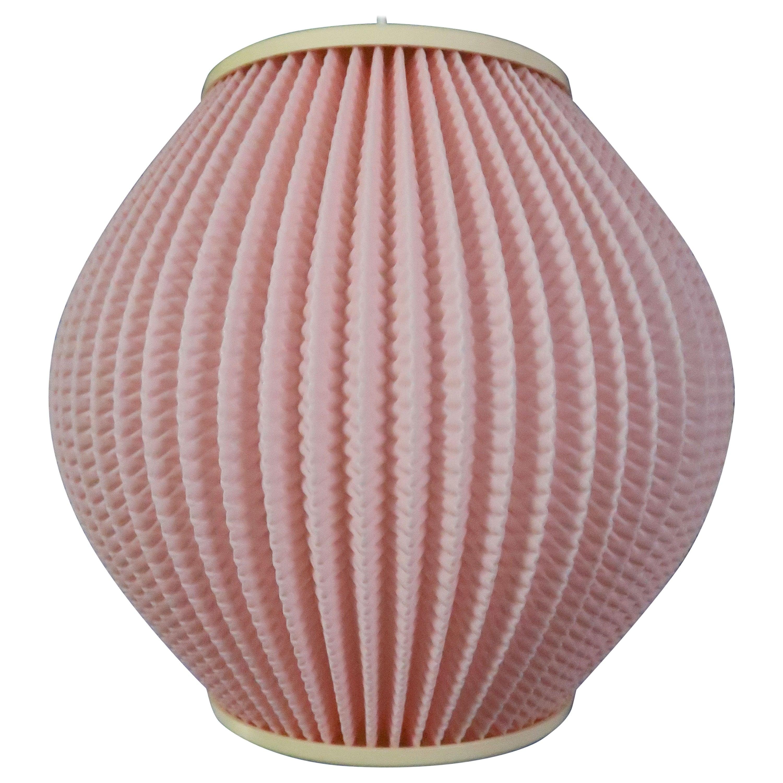 Pink Danish Modern Schiøler for Høyrup Pleated Pendant, 1960