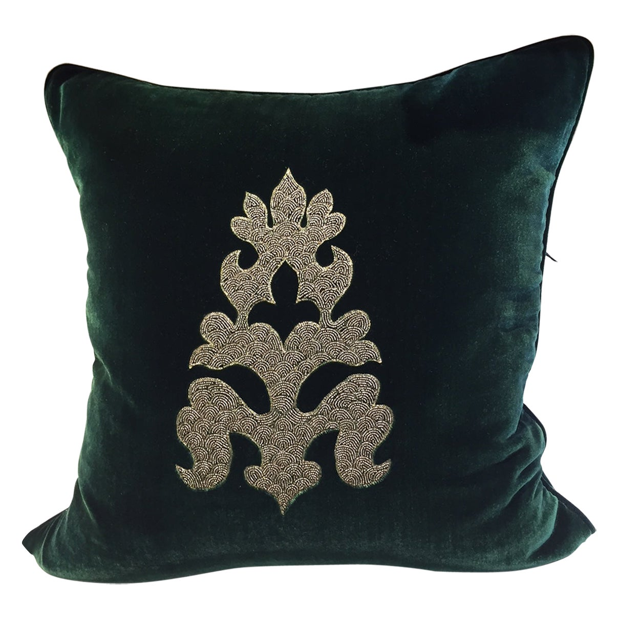Hand Embroidered Cushion Silk Dark Green Velvet with Asian Ornament