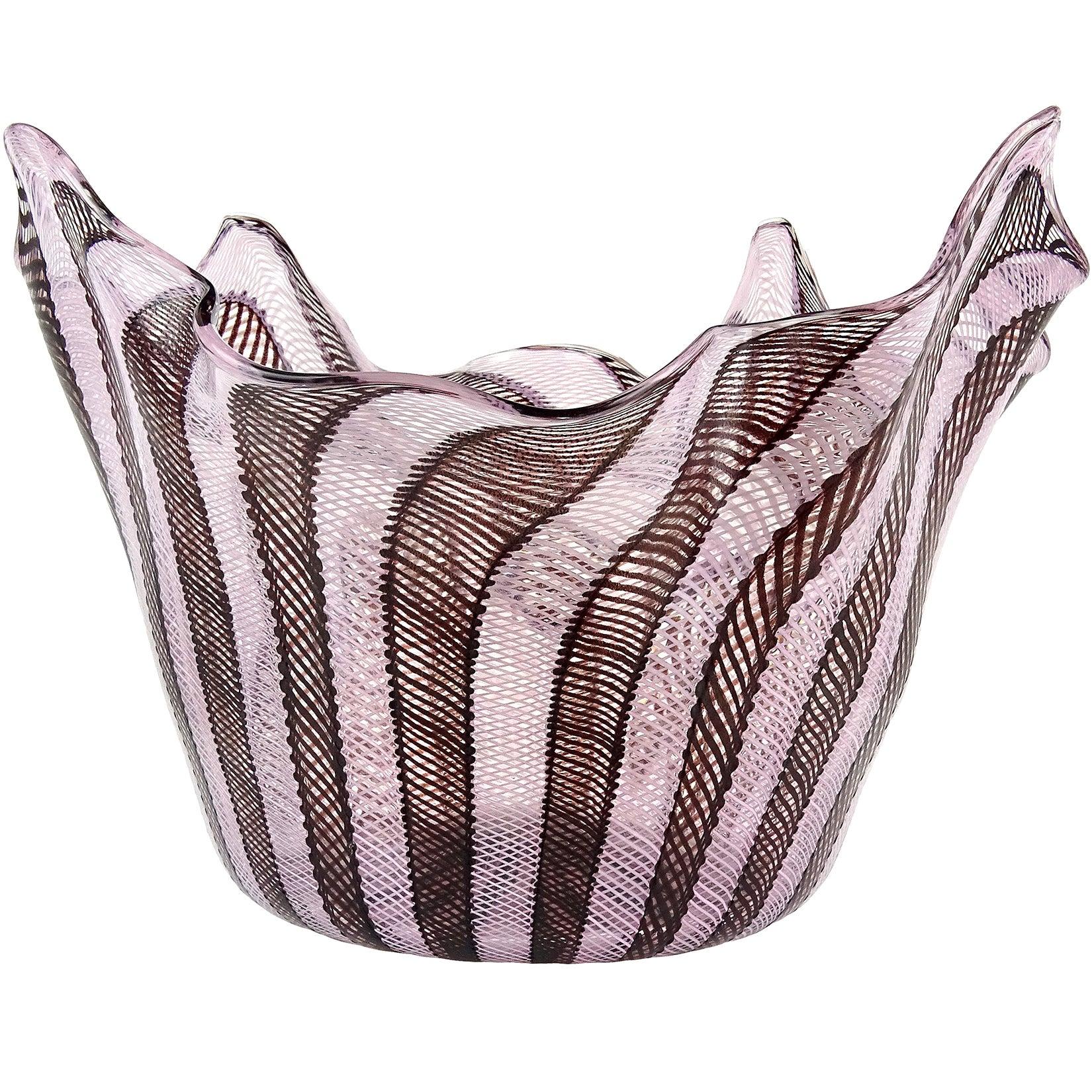 Fratelli Toso Murano Pink Black Ribbons Large Italian Art Glass Fazzoletto Vase
