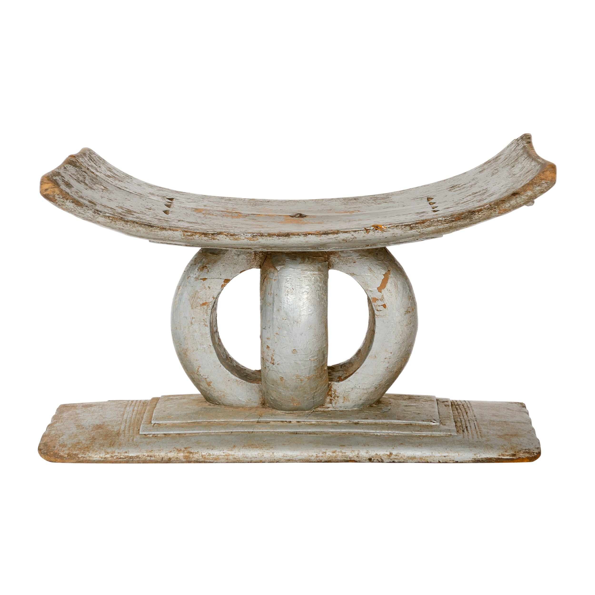 Early 20th Century Silver Painted African Ashanti Tribal Stool