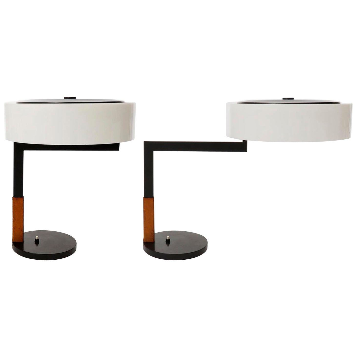 Two Kalmar Table Lamps, Swivel Lampshade, Leather Metal Opal Plexiglass, 1960s