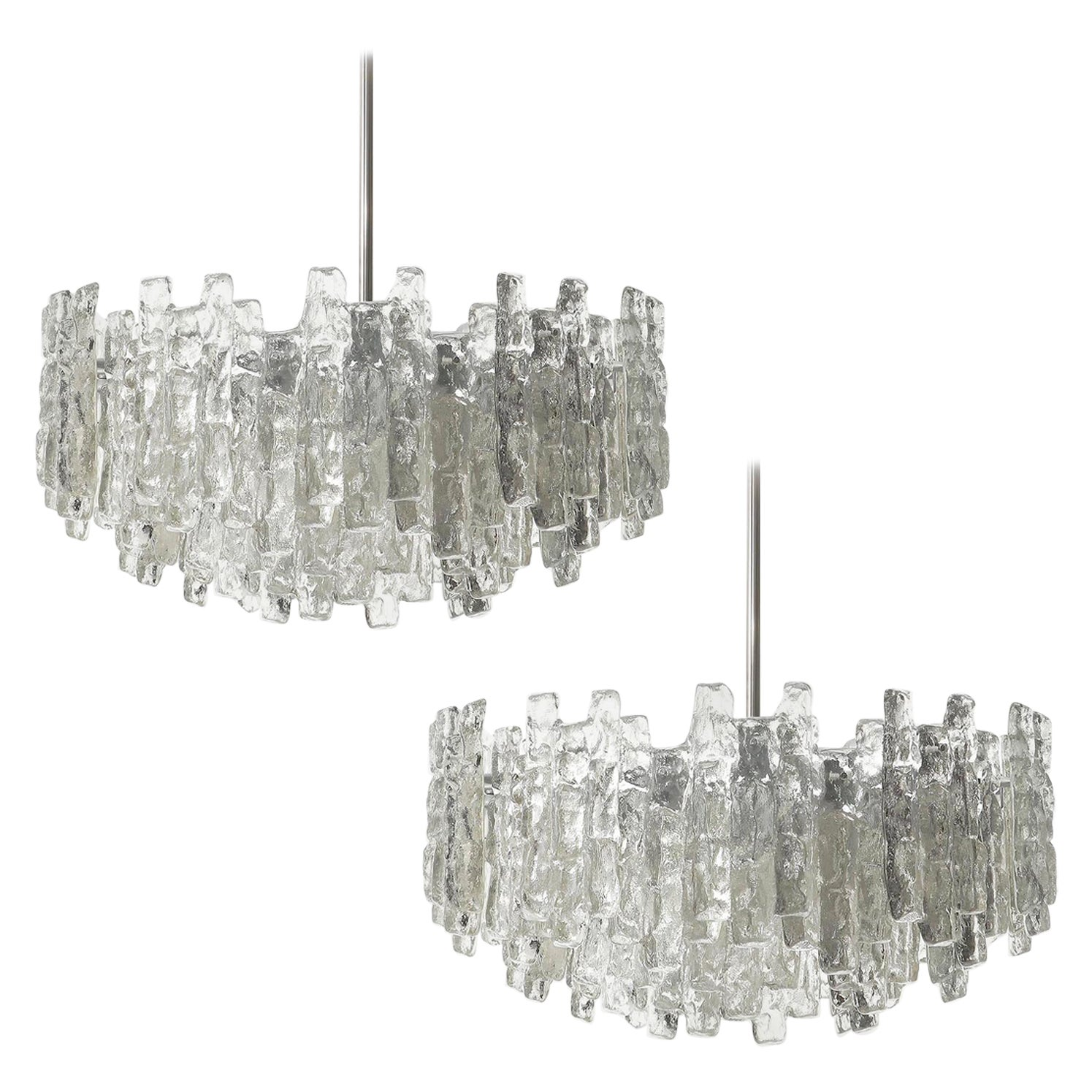 One of Two Huge Kalmar Chandeliers, Ice Glass and Nickel, Austria, 1960s
