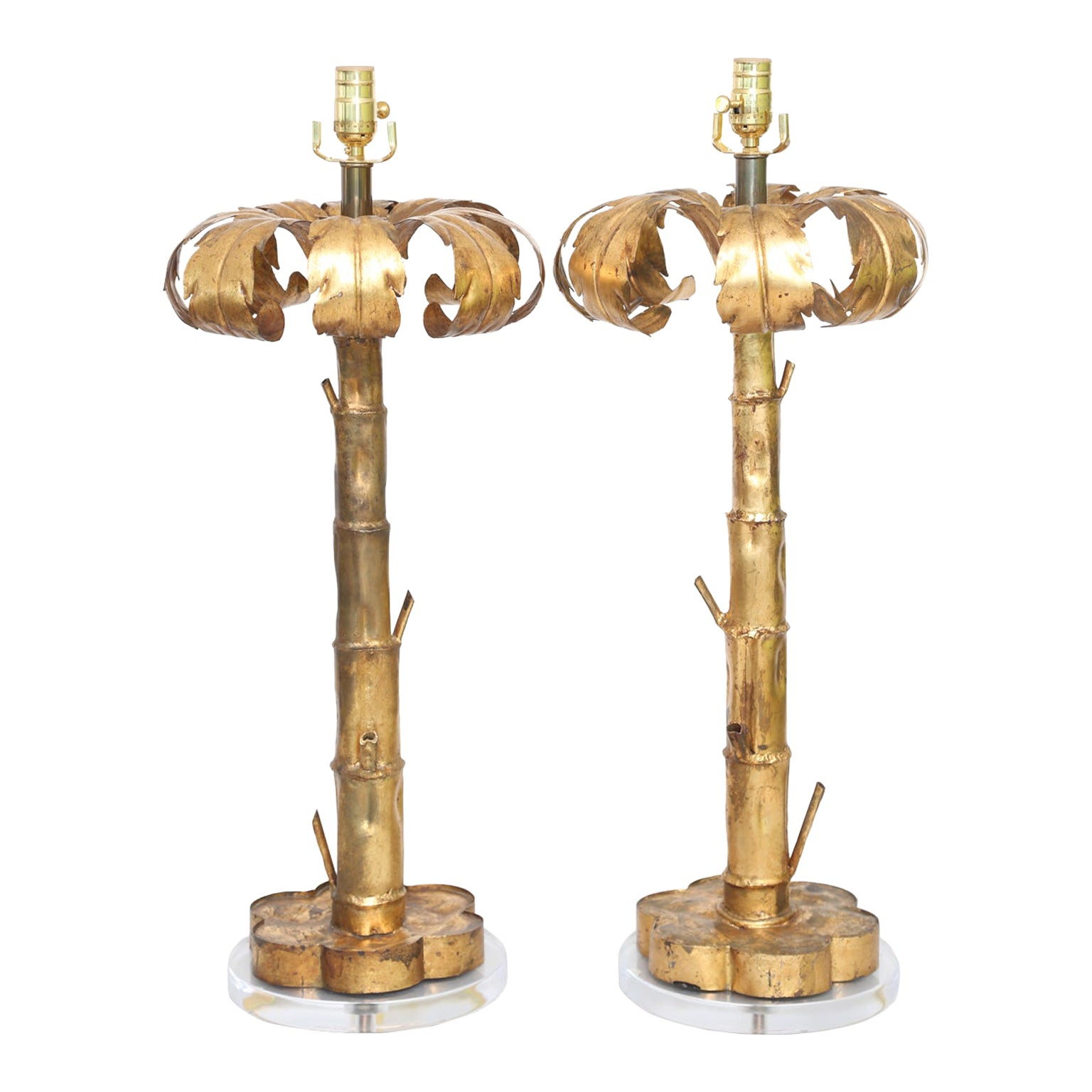 Pair of Gilt Metal Palm Tree Lamps