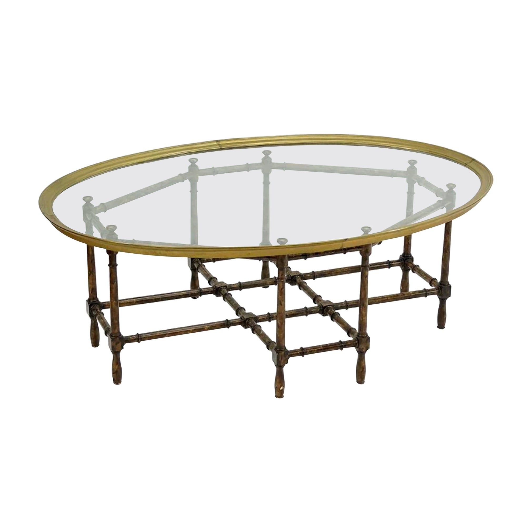Baker Brass and Faux Bamboo Hollywood Regency Cocktail Table