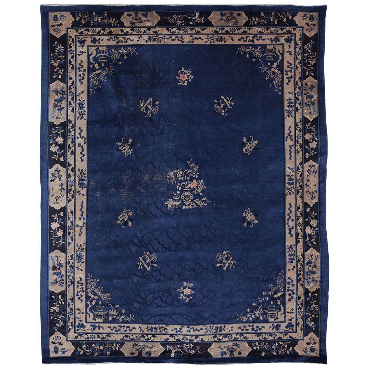 Chinese Indigo Blue Peking Rug, 1920